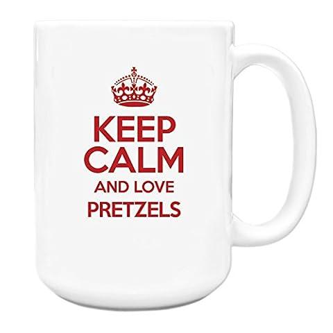 RED Keep Calm and Love Pretzels Big 15oz Mug TXT 2850