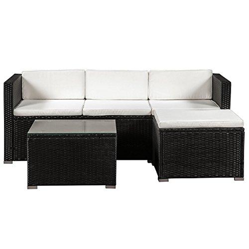 ArtLife Polyrattan Lounge Punta Cana M für 3-4 Personen mit Tisch in schwarz mit Bezügen in Creme - Bank-hocker-set
