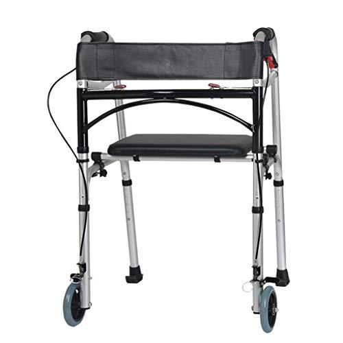 LHY-Rollator Folding Walker Vorder Wheeled Unterstützung mit Bremse Einstellbare, tragbar, leicht, kompakt älteres Gehen Medical Mobilitätshilfe für Behinderte - mit Sitz