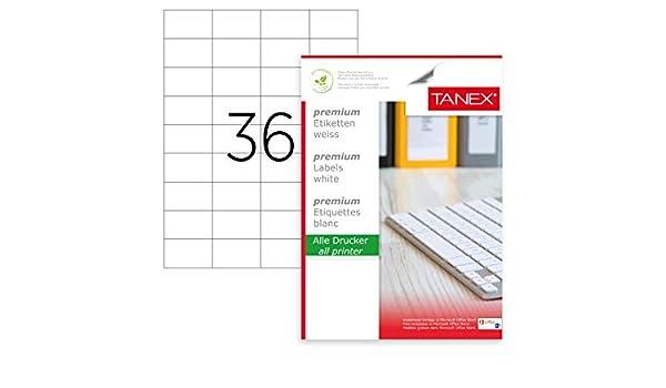 TANEX TW-2510 Universaletiketten 100 Etiketten weiß 105 x 56 mm 10 Blatt