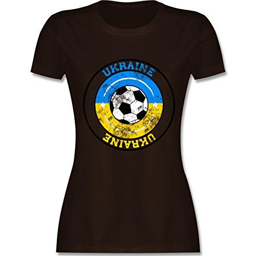 EM 2016 - Frankreich - Ukraine Kreis & Fußball Vintage - tailliertes Premium T-Shirt mit Rundhalsausschnitt für Damen Braun