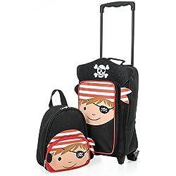 Maletín para niños para niños Maletín para maletas Maletín para maletas para viajes y mochila (Pirata Carretilla / Mochila)