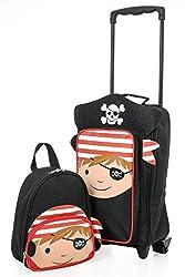 Aerolite Kindergepäck Kinderkoffer Reisekoffer Handgepäck und Rucksack Kofferset für Ausflüge, Übernachtungen und Klassenfahrten (Pirat Trolley & Rucksack)