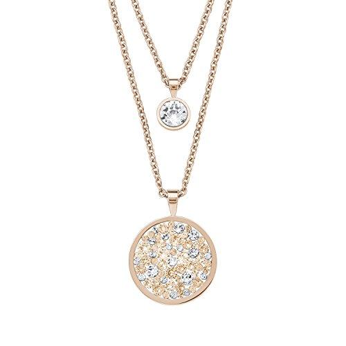 s.Oliver Damen-Halskette doppelreihig mit rundem Anhänger, aus Edelstahl mit Swarovski Kristallen