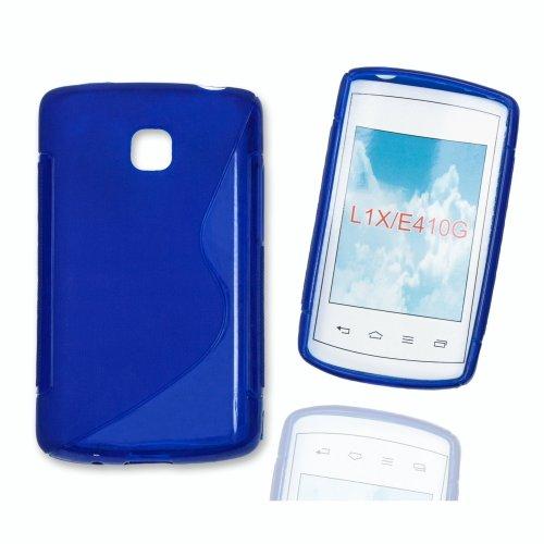 Case Blau Lg Handy L1 (Silikon Case Hülle Etui Handytasche Handykondom Back Cover in blau für LG Optimus L1 II / E410 inkl. World-of-Technik Touchpen)