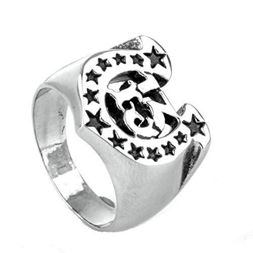 Beydodo Silber 925 Männer Ring mit Nummer 13 Sterne Alphabet Buchstabe U Partnerringe Punk Ring Herren Silber Gr. 70 (22.3)