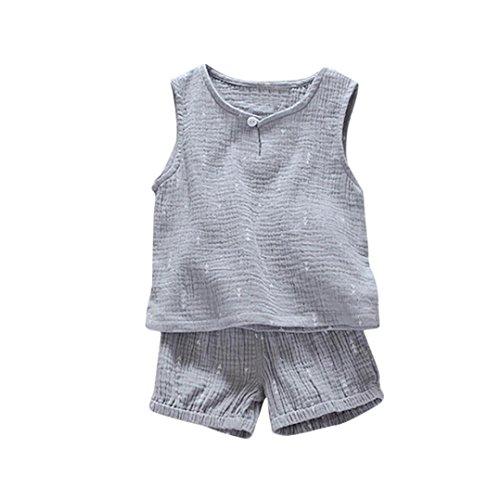 Hirolan Sommerkleidung 2 Stück Bekleidungssets Kleinkind Baby Junge Drucken T-Shirt Oberteile + Shorts Outfits Kleiderset Kinderkleidung Sweatanzug Schlafanzug Strampler (80CM, Grau)