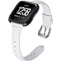 Leder Armband für Fitbit Versa, Minfex Premium Leder Armbänder mit Metallrahmen Ersatzband Uhrenarmband für Fitbit Versa Smartwatch Fitness Zübehor Besondere Design