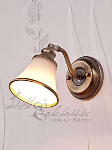 Edle Wandleuchte Bronzefarbig weiß Jugendstil inkl. 1x 3W E14 LED 230V Wandlampe aus Metall & Glas...