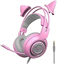 Pink Gaming Headset, SOMIC G951s Pink Stereo with Mic for PS4, Xbox One, PC, Mobile Phone, 3.5MM Sound Detacha