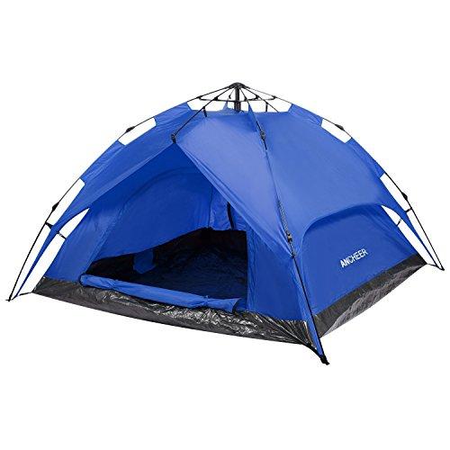 Ancheer Automatik Pop Up Zelt 2 Mann Wasserdicht Hydraulik Campingzelt - mit 3000mm Wassersäule Strandzelt UV Schutz (Blau)