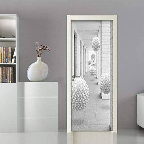 DNFurniture 3D Tür Aufkleber Promenade weiße Kugel 80X200CM Selbstklebend Urlaub Geschenk visuell wandaufkleber Dekoration tapete PVC Kunst Illustration DIY Aufkleber