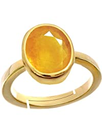 Gemorio Yellow Sapphire Pukhraj 3.9cts or 4.25ratti stone Panchdhatu Adjustable Ring For Men