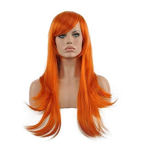 Cosplay Perücke orange lange gerade gewellte synthetische Perücke heißer Verkauf Halloween (Halloween Verkauf Perücken)