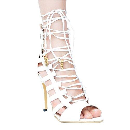 Faschion Alto Sapatos Correia Cadarço Tornozelo De Salto Cruzadas Brancos Mulheres Sandálias Kolnoo Criss SqCxfnwg