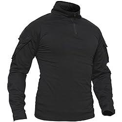 TACVASEN T-Shirt en Coton Hommes Noir Militaire Outdoor Chemise Extérieur Hiver Homme Cotton Tshirt Winter Mens Casual Shirt Black