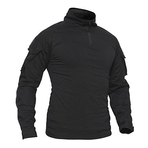 TACVASEN Herren Baumwoll Shirt Schwarz Langarm Hemd Militär Men\'s Long Sleeve T-Shirt Black Cotton Outdoor Tshirt Black Schwarz