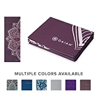 Gaiam Yoga Mat Folding Travel Fitness & Exercise Mat | Foldable Yoga Mat for All Types of Yoga, Pilates & Floor Workouts, Cranberry Point, 2mm