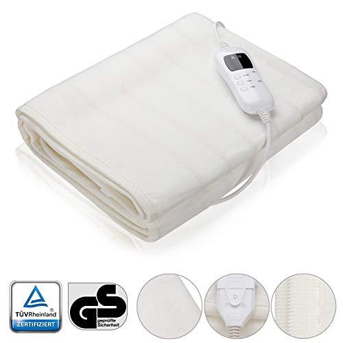 VINGO Wärmeunterbett, 190x80cm Elektrische Wärme Heizdecke mit Überhitzungsschutz 9 Timer Abnehmbarem Schalter Temperatursstufen