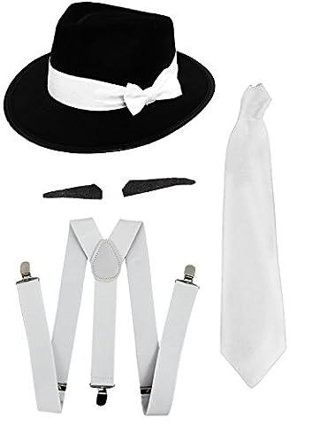 Gangster Kostüm der 1920er Reihe -Zubehör Set Deluxe -Weiß Hosenträger