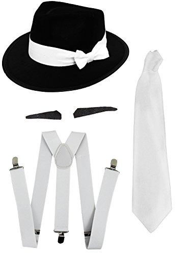 Gangster Kostüm der 1920er Reihe -Zubehör Set Deluxe -Weiß Hosenträger + Weiße Krawatte + Schwarzer Spiv/Schnurrbart + Weißer Trilby-Hut+Roter Plastik Knopfloch Nelke