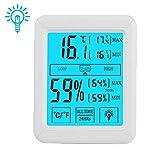 HUALANS Termometro Igrometro Digitale Professionale con Touch-Button, Termometro Ambiente Termoigrometro Interno Retroilluminazione Monitor Temperatura/Umiditš€ da Interno (batterie escluse)