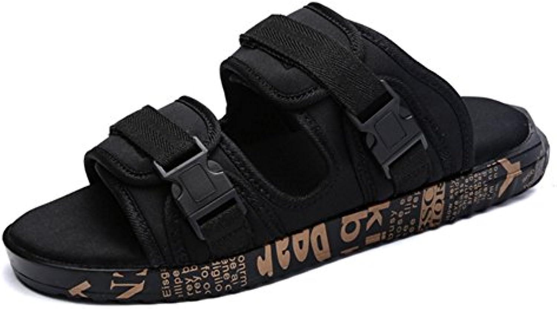 XIE Zapatillas para hombre Velcro Beach Outdoor Indoor Men's Casual Tide Cool Slippers 39-43, brown, 39  -