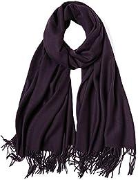 MaaMgic Schal Damen Warm Früehling unifarben Baumwolle mit quasten/fransen, 40+ Farben Einfarbig & Kariert Pashmina xl Schals Stola MEHRWEG