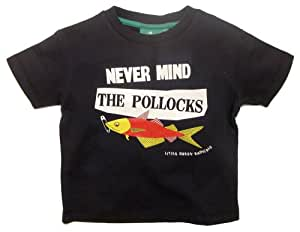 Little Green Radicals organic Fairtrade cotton Never Mind the Pollacks T-Shirt  (Navy, 2-3 Years)