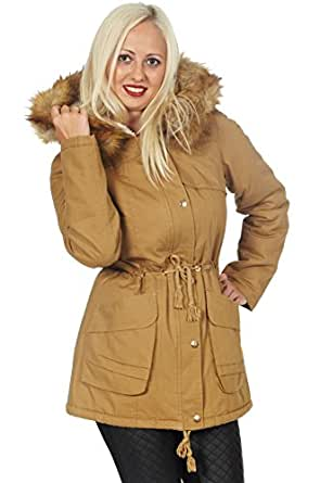 damen parka mit fellkapuze lang beige gr n s 3xl 2xl. Black Bedroom Furniture Sets. Home Design Ideas