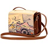 DSstyles Retro Fuji Instax Mini PU Leather Camera Shoulder Bag Case for Fujifilm Instax Mini 7S/ Instax Mini 8/ Instax Mini 25/ Instax Mini 50S Cameras - Brown