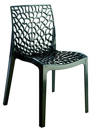 Lot de 2 chaises empilables GRUVYER, Anthracite