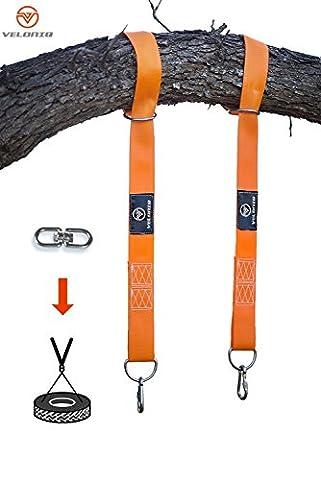 Veloniq® | Arbre Swing Sangles de suspension | 2sangles Orange | 2Multi de dimension Anneaux en D pour facile installer | 2crochets de verrouillage de sécurité Mousqueton | Peut contenir jusqu