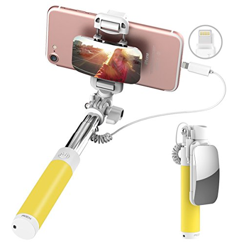 ROCK iPhone 7 Bastone Selfie,Mini Selfie Stick con iPhone Lightning Controllo di Legare e Grande Specchio[139mm a 600mm]per iPhone 7/7 Plus e altro iPhone con Connettore Fulmini - Giallo