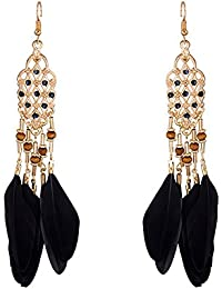 Evince MODE Black Alloy & Feather Dangle & Drop Earrings For Women (EM17E113)