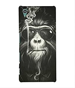 For Sony XPERIA Z5 -Livingfill- Monkey Smoke with cool sunglasses Printed Designer Slim Light Weight Cover Case For Sony XPERIA Z5 (A Beautiful One of the Best Design with a Classic Theme & A Stylish, Trendy and Premium Appeal/Quality) (Red & Green & Black & Yellow & Other)