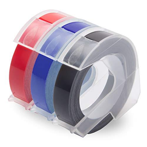 Uniplus 3er 3D Prägeband Selbstklebend Vinyl-Prägeetiketten (9mm x 3m Weiß auf Schwarz/Rot/Blau), Kompatibel für Prägegeräte Dymo Junior und Omega und Organizer Xpress pro