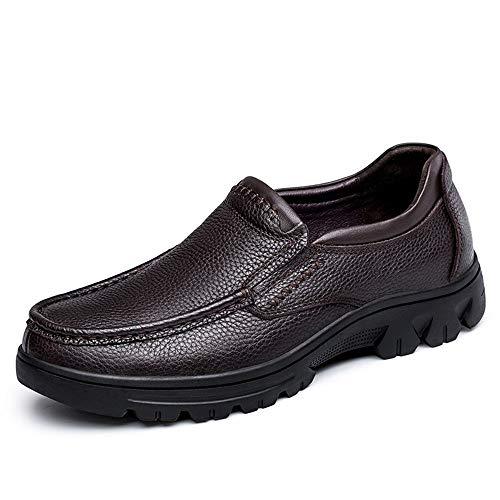 HILOTU Herren Klassische Formelle Schuhe Einfache Art Bequeme Lederschuhe Reine Farbe Outdoor Anti Slip Schuhe (Color : Braun, Größe : 41 EU)