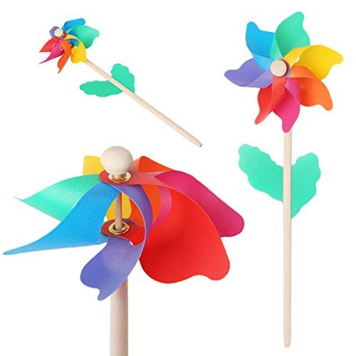 ECMQS Kinder windmühle spielt mit hölzernem stock, Garten Dekorations Verzierungs buntes im Freien Spinner   Kinderzimmer > Kinderzimmerdekoration   ECMQS