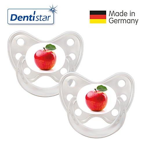 Dentistar® Silikon Schnuller 2er Set inkl. 2 Schutzkappen - Nuckel Größe 3, ab 14 Monate – Apfel rot