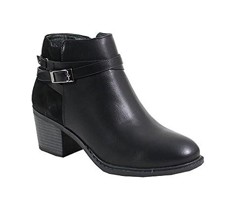 By Shoes - Bottine Talon Carré Style Cuir - Femme - Taille 36 - Black