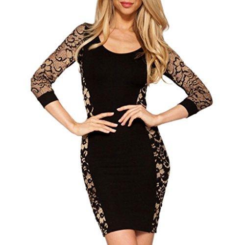 mywy - Vestito tubino nero pizzo abito donna vestitino abiti eleganti vestiti party Beige