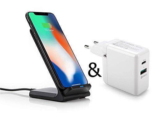 OKCS Schnellladegerät & Qi Dockingstation - Kabellos - Wireless Fast Charger - USB C Port und USB 3.0 Quick Charge für X, 8, 8 Plus, Galaxy S10, S10+, S10e, S9, S9 Plus, S8, S8 Plus, S7, Note 8 etc. Station Zubehör