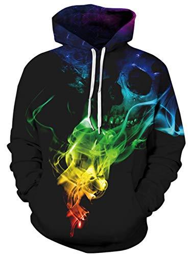TUONROAD Felpe con Cappuccio Uomo Fumo Colorato 3D Stampato Hoodie Unisex Pullover Sweatshirt con Tasche Coulisse Felpe Uomo - S/M