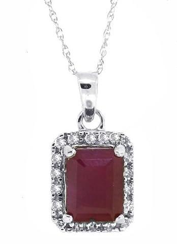 1.55ct Emerald Cut Genuine Ruby Diamond Pendant,10Kt White Gold w/chain (AB)