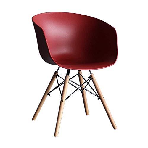 YLCJ Esszimmerstuhl, HYX003 Computer Lounge Chair, Bürostuhl, Arbeitsstuhl, Home Office, Nordic Minimalist Style, Kunststoff mit Rückenlehne, mit Sessel (Farbe: Rot)