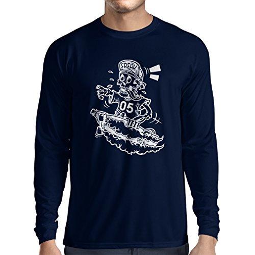 Langarm Herren t Shirts Der Schädel Skater, Skate-Ausrüstung, Skateboarder, Street Urban Clothing, Idee (Small Blau Mehrfarben)