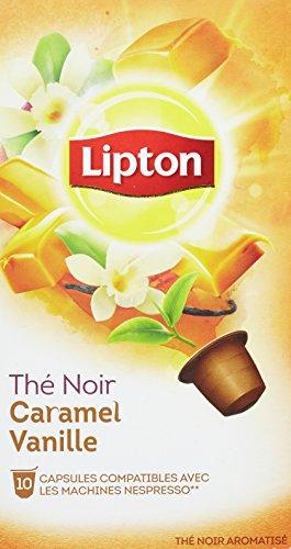 Lipton Thé Noir Caramel Vanille 10 Capsules 25g Compatibles Nespresso