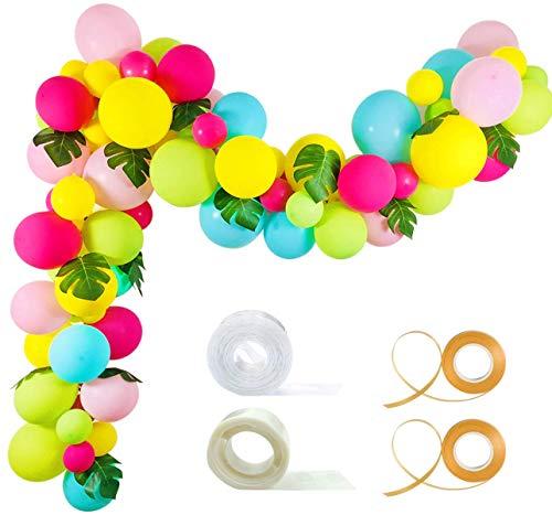 Tropische Ballon Girlande Kit - 92 Pack gelb Aqua blau Rose rot Obst grün Baby rosa Luftballons Palm verlässt Garland Strip Set für Baby-Dusche Hawaii Flamingo Luau Party Supplies Geburtstag (Aqua-papier-girlande)