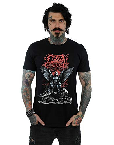 OZZY Osbourne Hombre Angel Wings Camiseta Negro X-Large